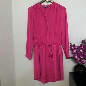 Dresses & Skirts - Bright Pink Long Sleeve Shirt Dress
